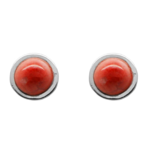 Stone Dot Earring-Red Howlite and Silver