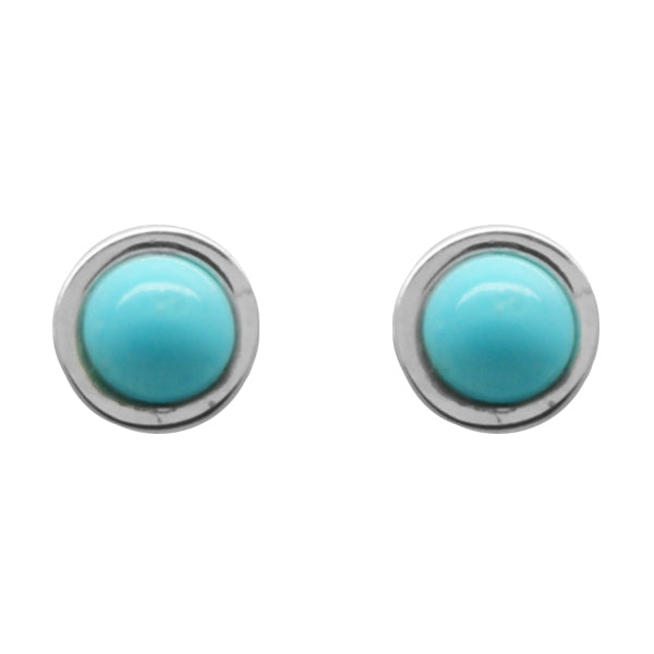 Stone Dot Earring- Turquoise and Silver