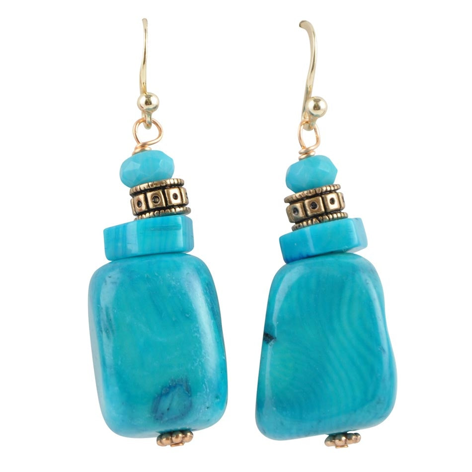 Blue Sea Bamboo Coral Drop Earring