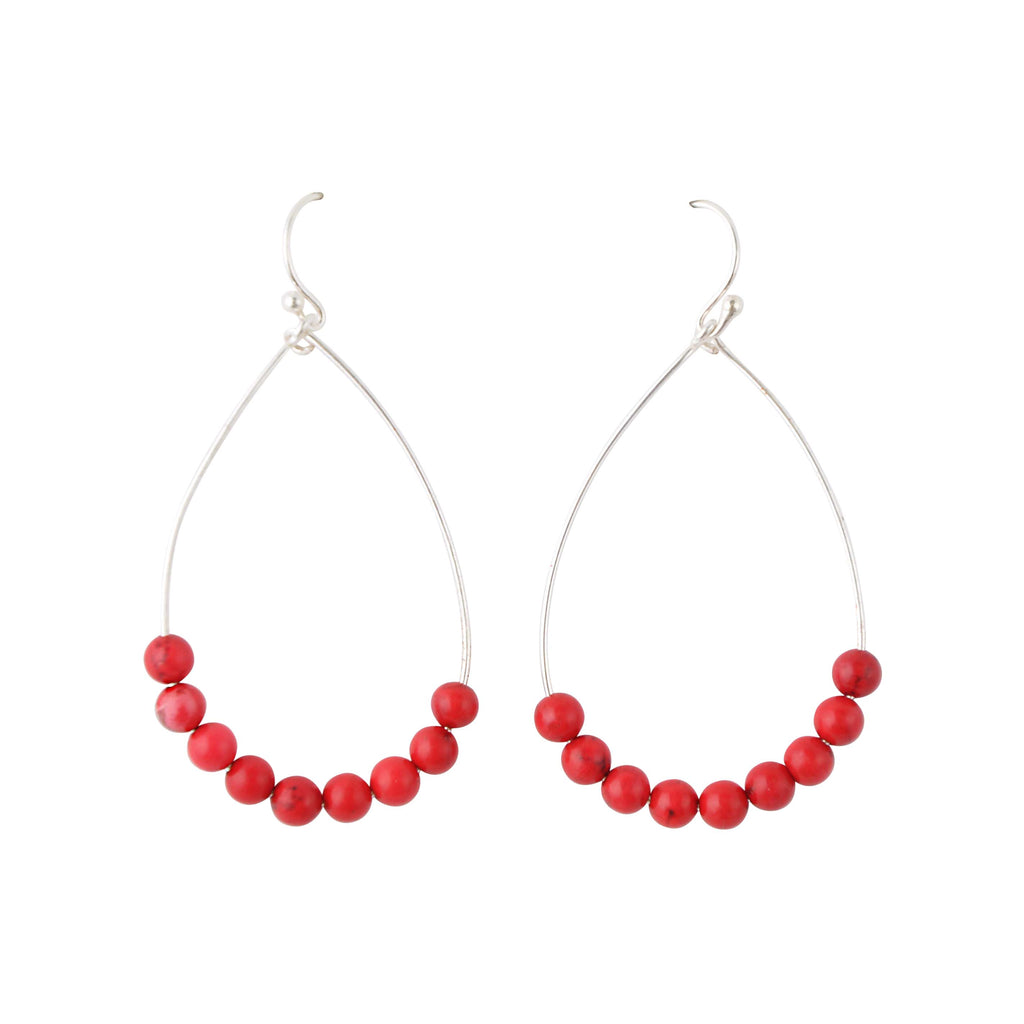 Red Magnesite Teardrop Earring