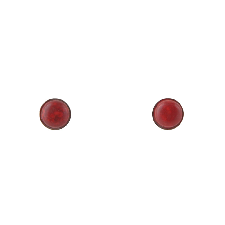 Stone Dot Earring-Red Maganesite and Silver