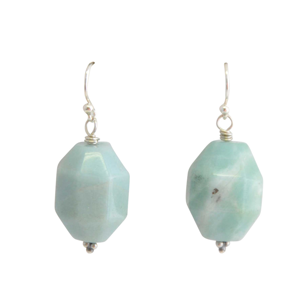 Rock On Stone and Silver Earring-Amazonite