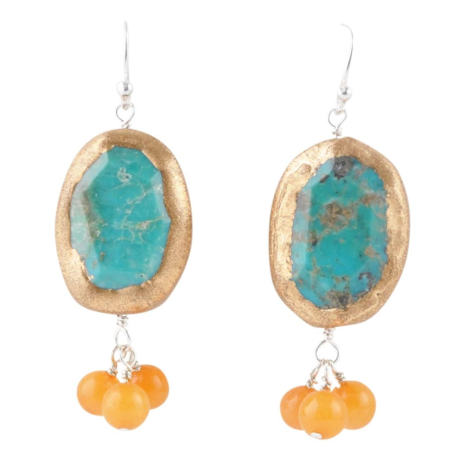 Copper Dust Turquoise and Agate Earring