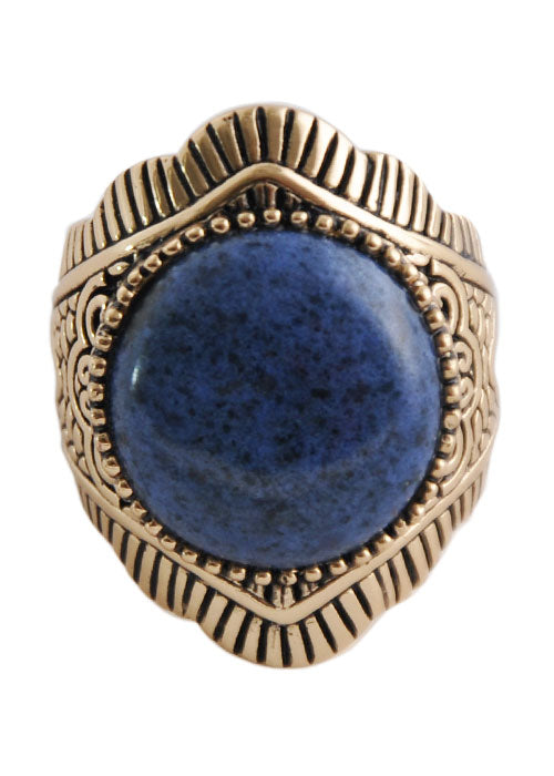 Blue Dumortieurite and Bronze Ring