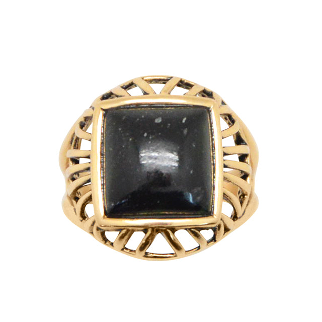 Square Deal Black Green Jade Ring