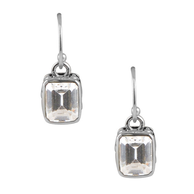 Cubic Zirconia Rectangle Earring on Wire