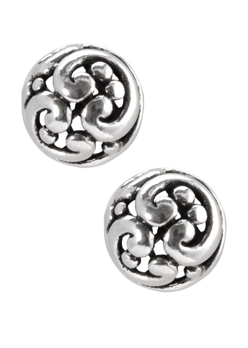 Swirled Sterling Button Earring