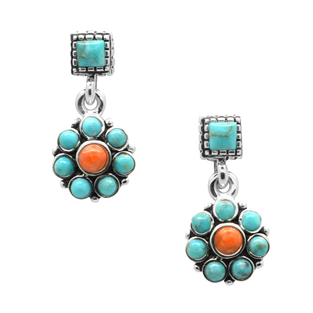 Garden Variety Turquoise and Coral Earring