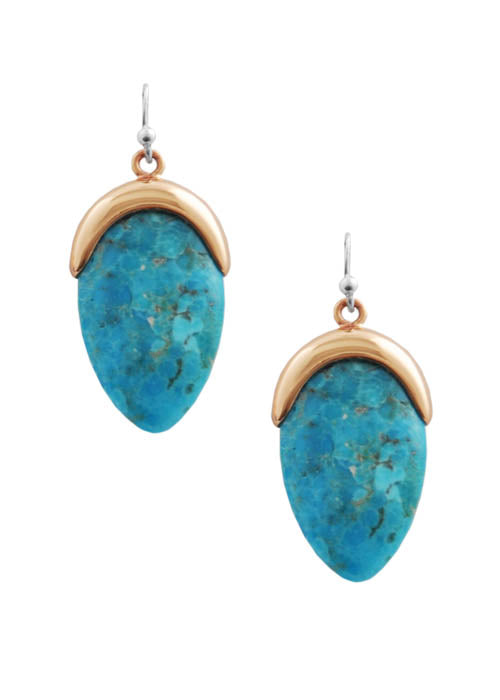 Capped Turquoise Earring-Copper