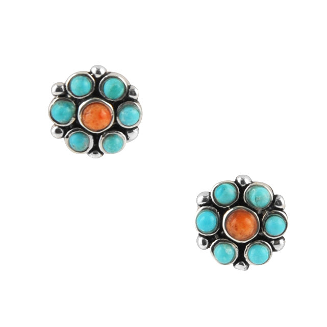 Bright Spot Turquoise and Coral Earring