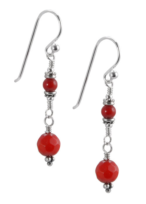Red Coral Dangle Earring