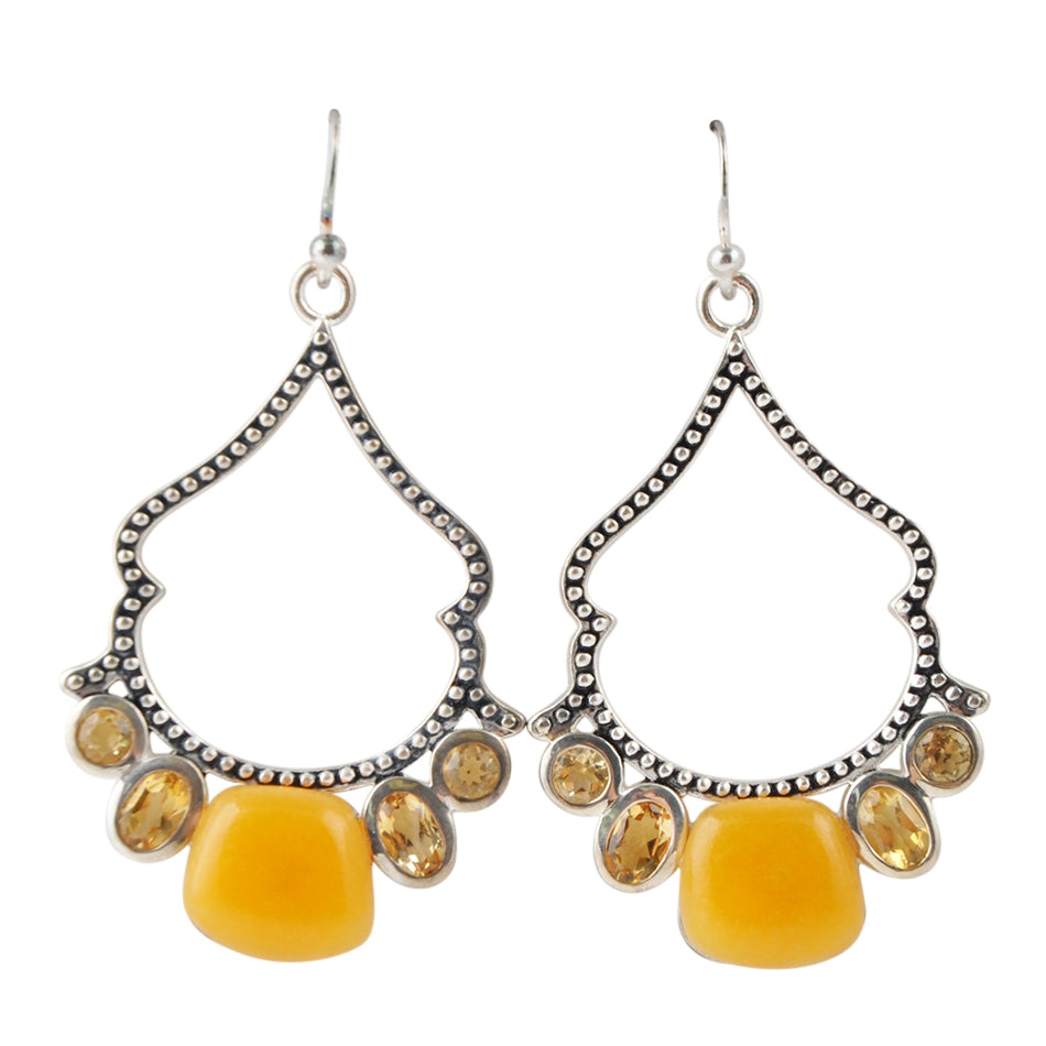 Etta Romance Earring-Citrine and Yellow Jade