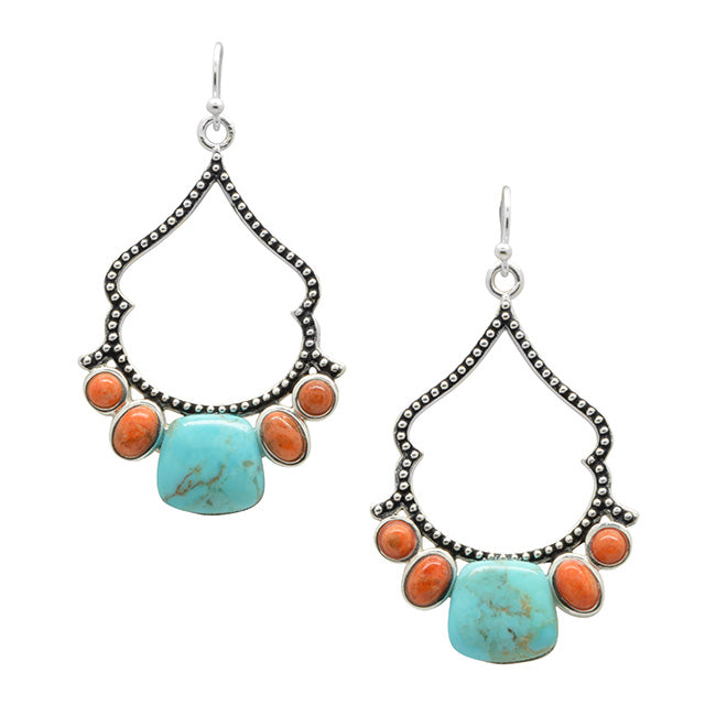 Etta Romance Earring-Turquoise and Coral