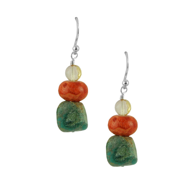 Etta Tri-Stone Earring-Citrine, Coral and Turquoise