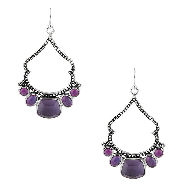 Etta Relic Earring-Amethyst and Purple Turquoise