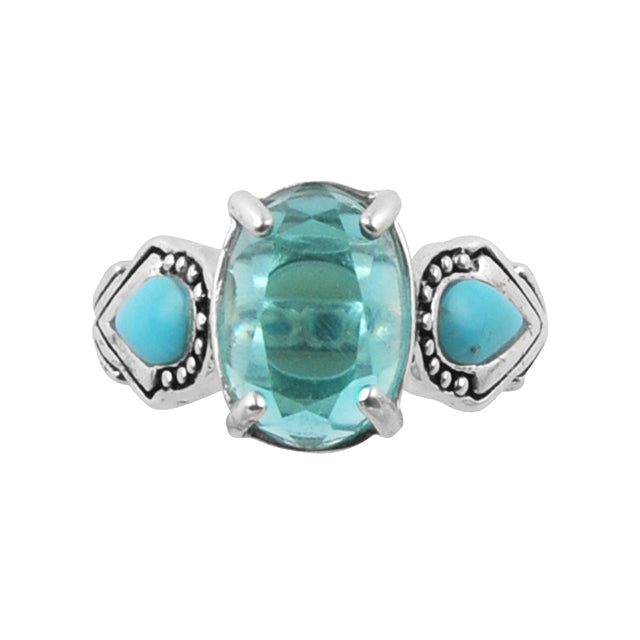 Fit to be Queen Ring- Blue Topaz and Turquoise