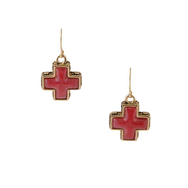 Red Cross Bronze Earring