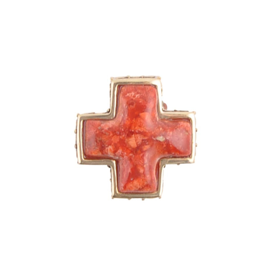 Red Sponge Coral and Bronze Cross Ring
