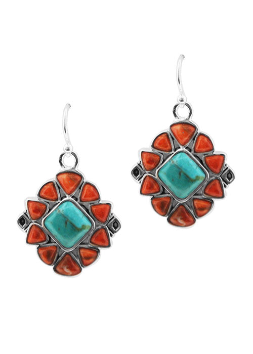 Confetti Earring-Turquoise an Sponge Coral-Silver Overlay