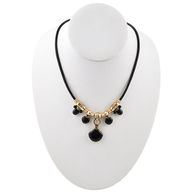 Frida Leather and Stone Necklace-Onyx