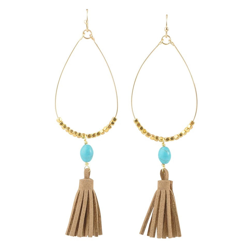 Turquoise and Leather Fringe Earring