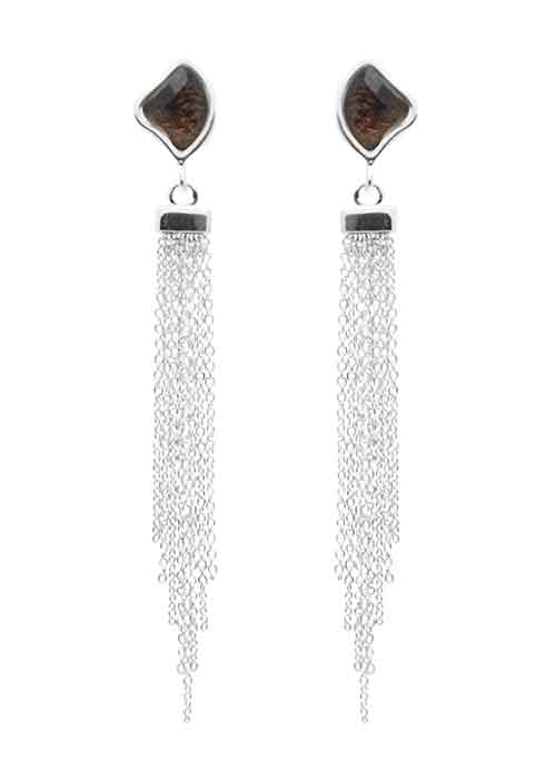 Fringe Element Earring-Smoky Quartz