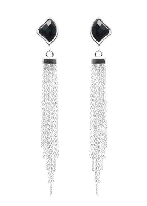 Fringe Element Earring-Black Onyx