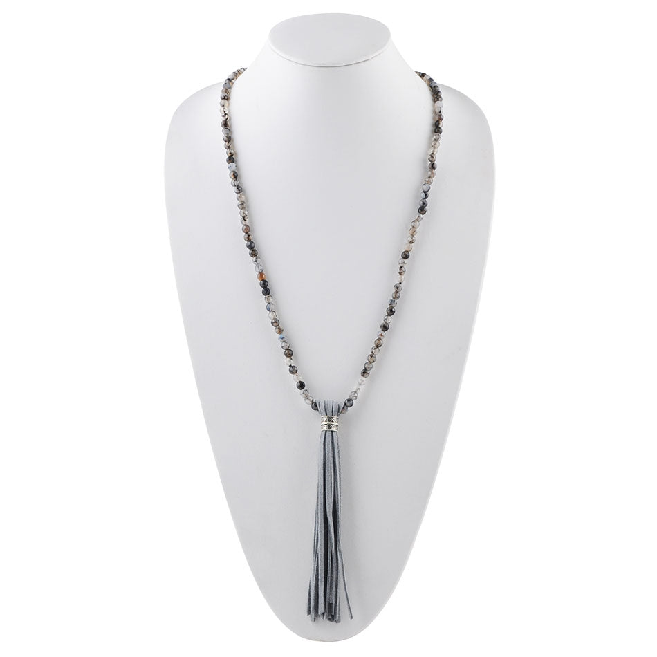 Total Tassel Agate and Leather Necklace-Grey