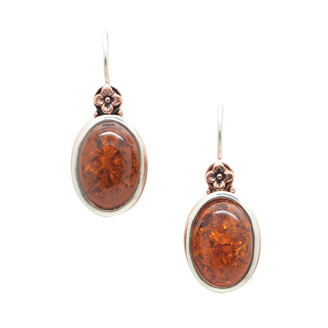 Multi-Metal Amber Earring