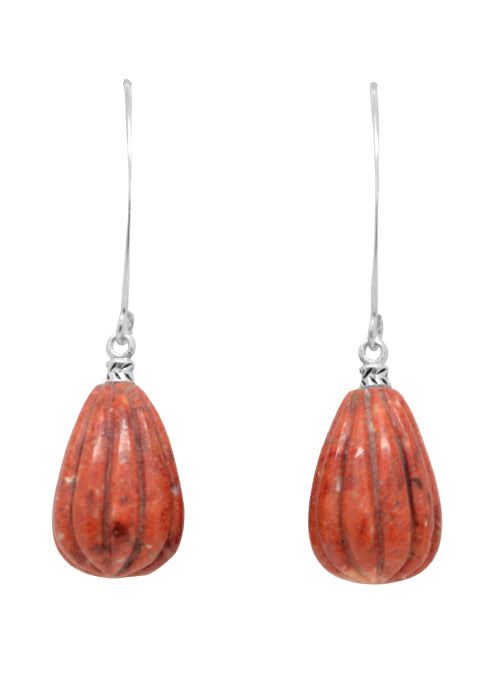 Scored Orange Sponge Coral Drop Earring