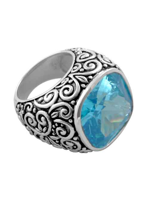 Large Blue Cubic Zirconia Scroll Ring