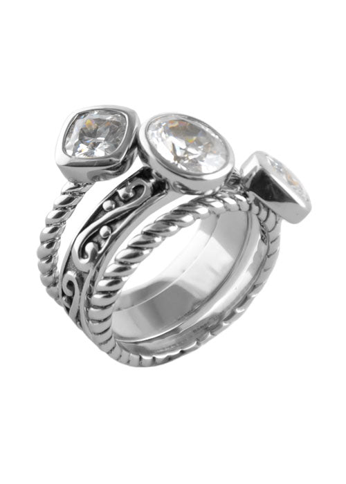 Multi-Shape Cubic ZirconiaTrio Ring Silver