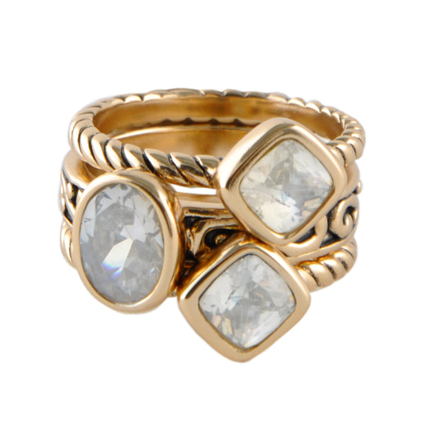 Multi-Shape Cubic ZirconiaTrio Ring Bronze
