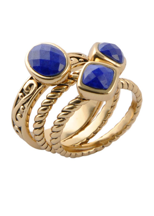 Multi-Shape Lapis Trio Ring