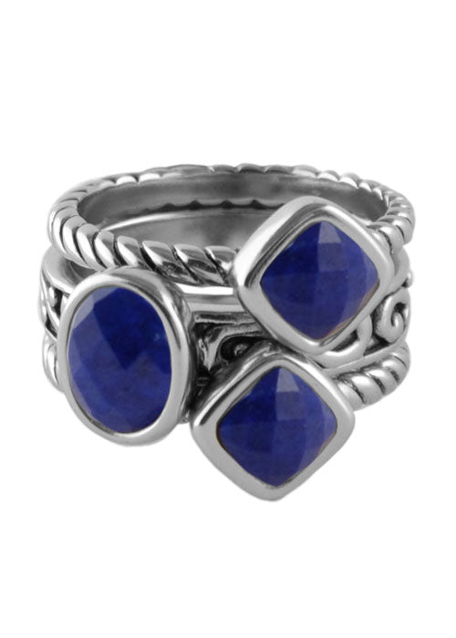 Multi-Shape Lapis Trio Ring Silver