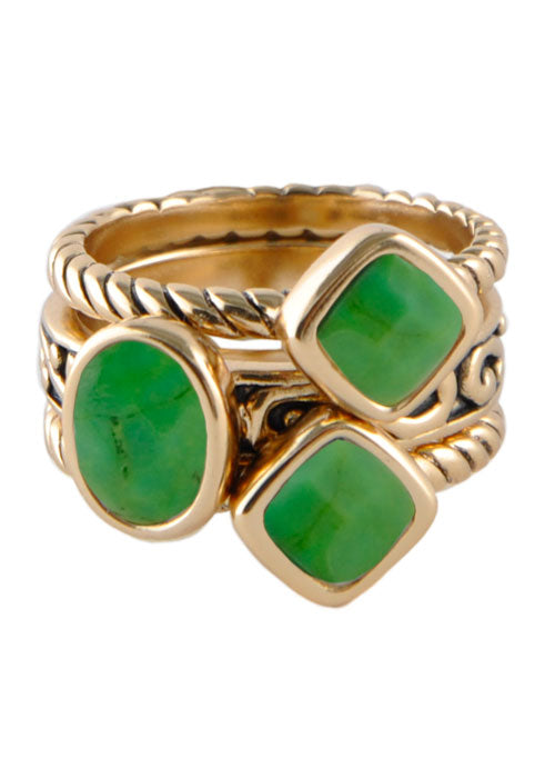 Multi-Shape Lime Turquoise Trio Ring
