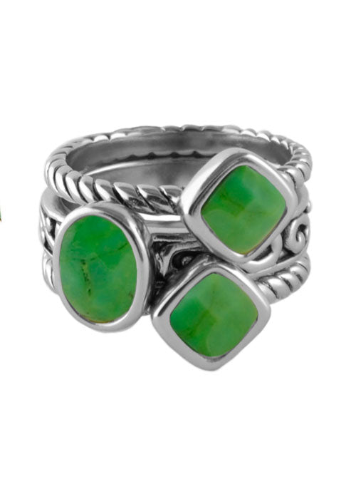 Multi-Shape Lime Turquoise Trio Ring Silver