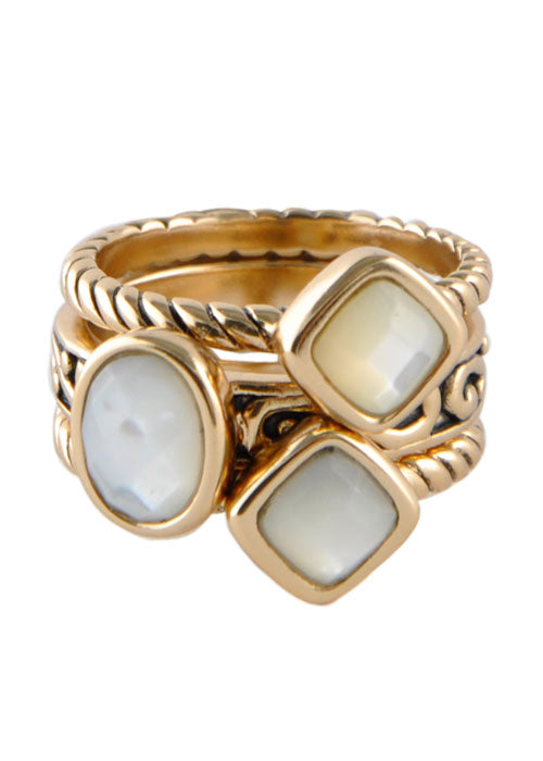 Multi-Shape Mother of Pearl Trio Ring