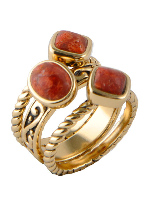 Multi-Shape Orange Sponge Coral Trio Ring