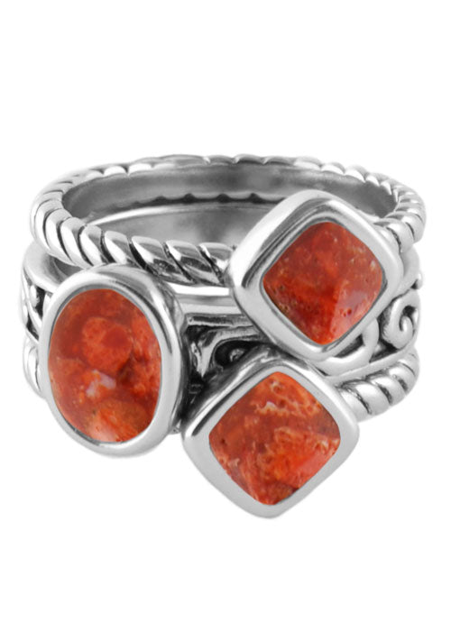 Multi-Shape Orange Sponge Coral Trio Ring- Silverplate
