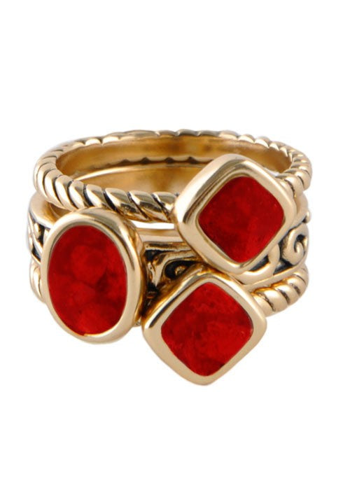 Multi-Shape Red Howlite Trio Ring