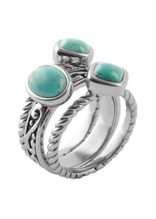 Multi-Shape Turquoise Trio Ring Sterling Silver