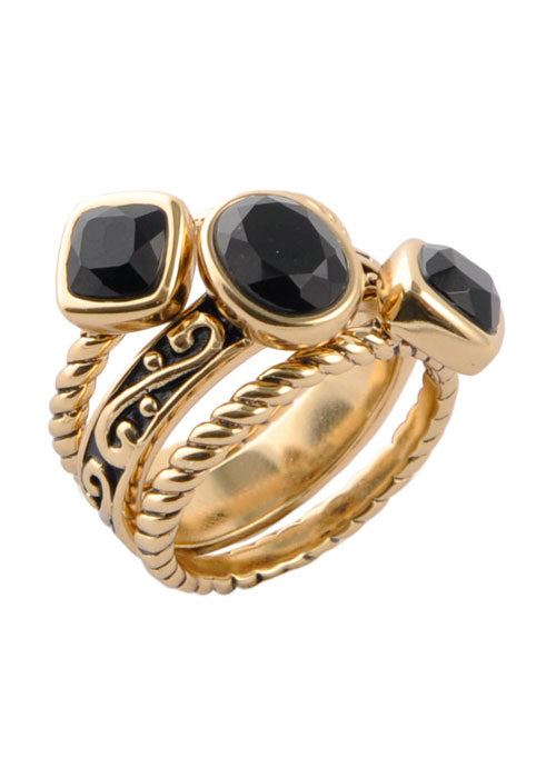 Multi-Shape Onyx Trio Ring