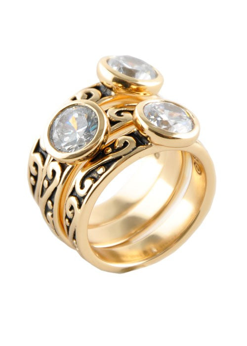 Round CZ Triple Ring