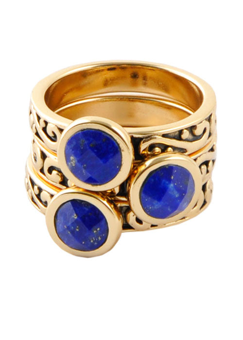 Round Lapis Triple Ring