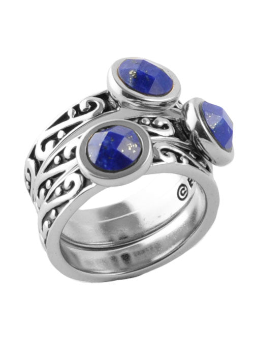 Round Lapis Triple Ring Silver
