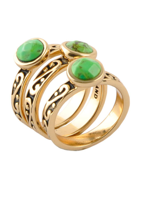 Round Lime Turquoise Triple Ring