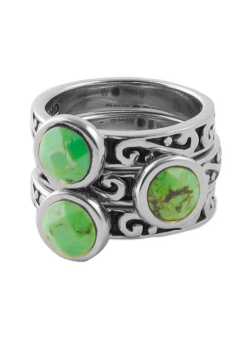 Round Lime Turquoise Triple Ring Silver