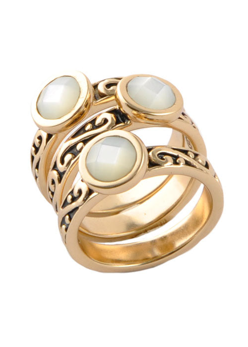 Round Mother of Pearl Triple Ring