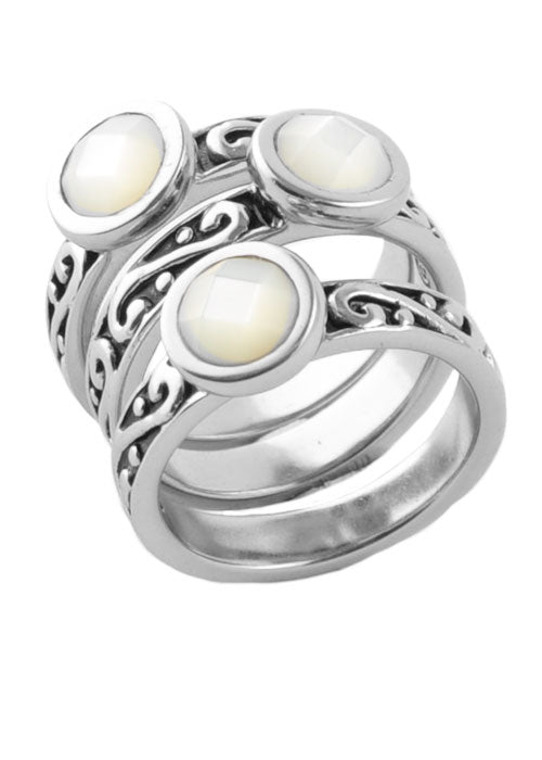 Round Mother of Pearl Triple Ring Silver